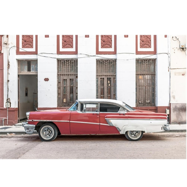Red and White Cuban Car