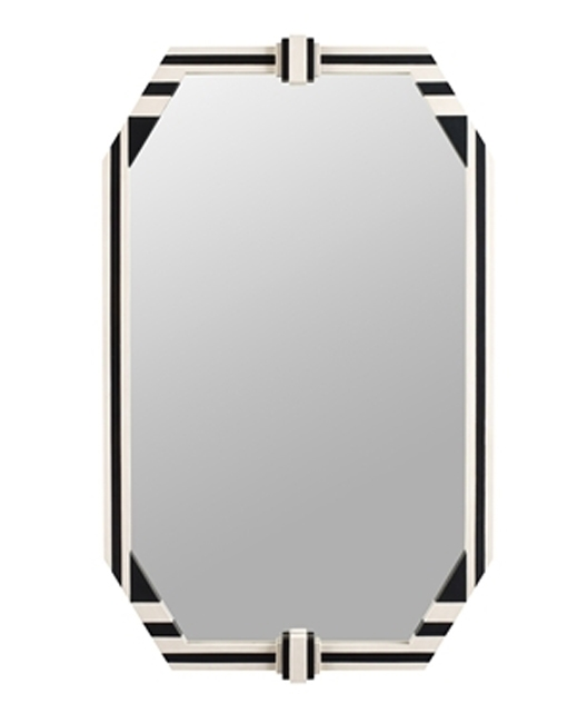 Black and Antique Ivory Finished Striped Mirror