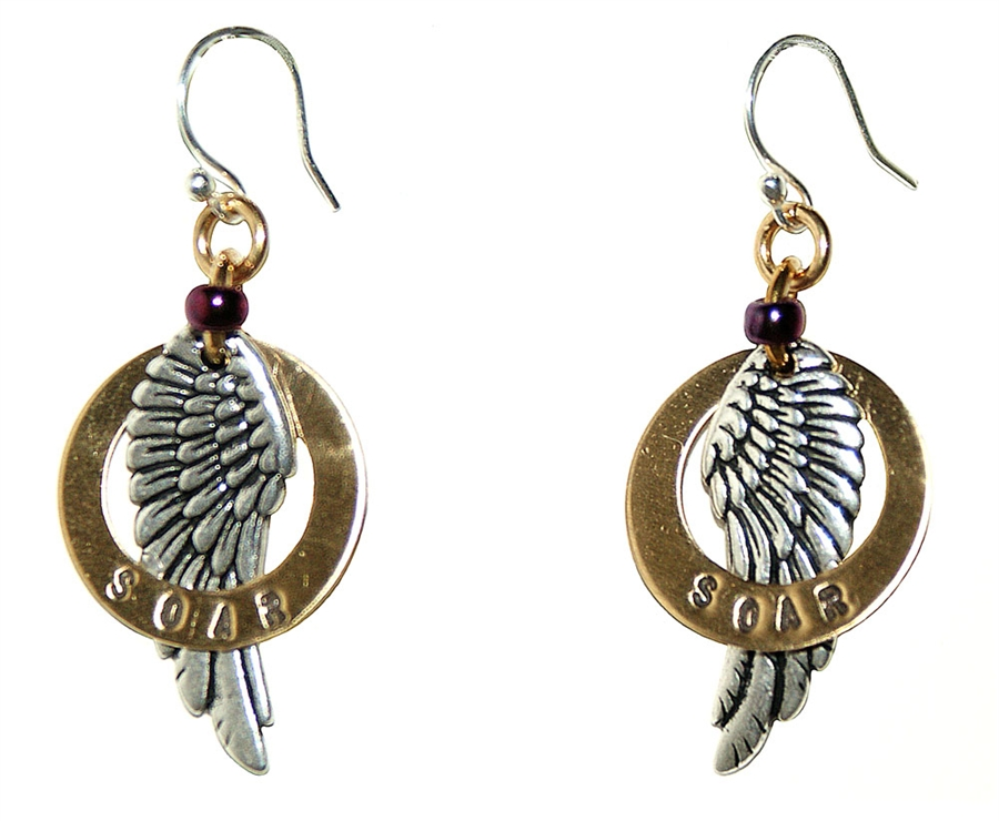 Earrings With Br Ring Encircling Beautifully Detailed Silver Wing Stamped Soar Purple