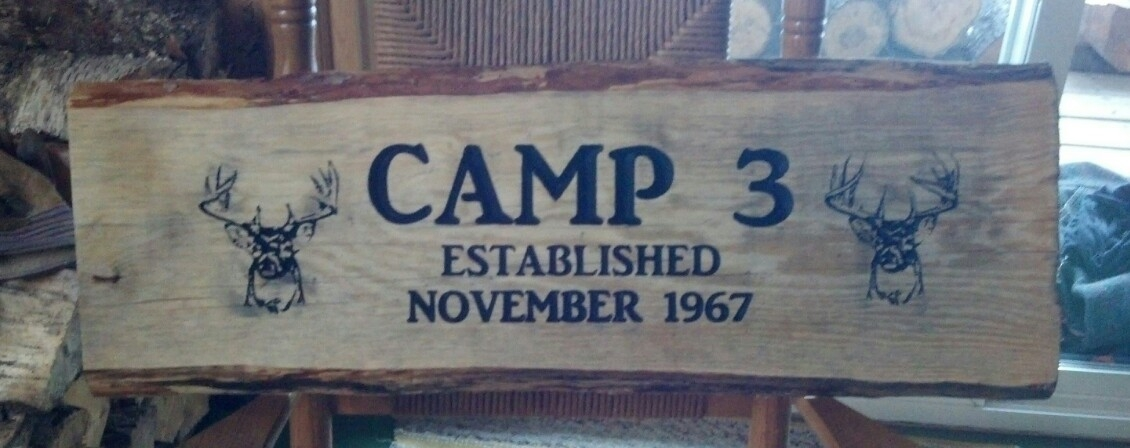 Custom Rustic Slab Wood Personalized Sign Wall Art Custom Camp Cabin Sign
