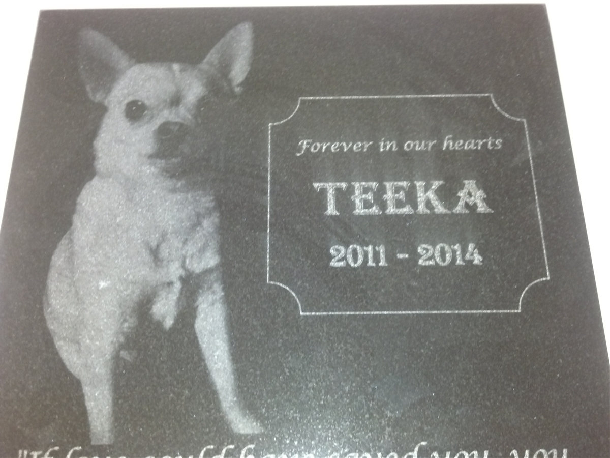 12 X 12 Personalized Photo Engraved Pet Grave Marker