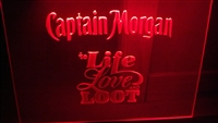 "Edge Lit Led Sign ""Captain Morgan Life Love Loot"" 24"" x 18"""