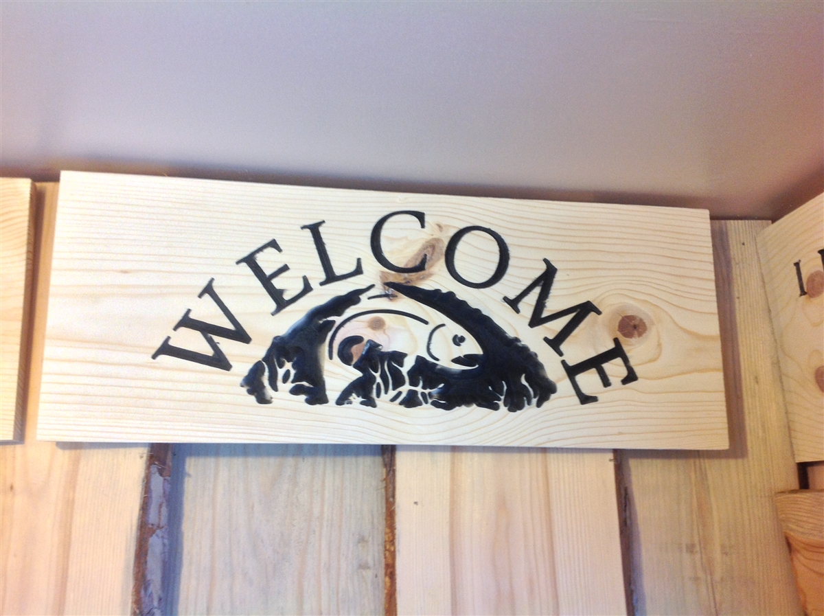 Carved Sign Welcome