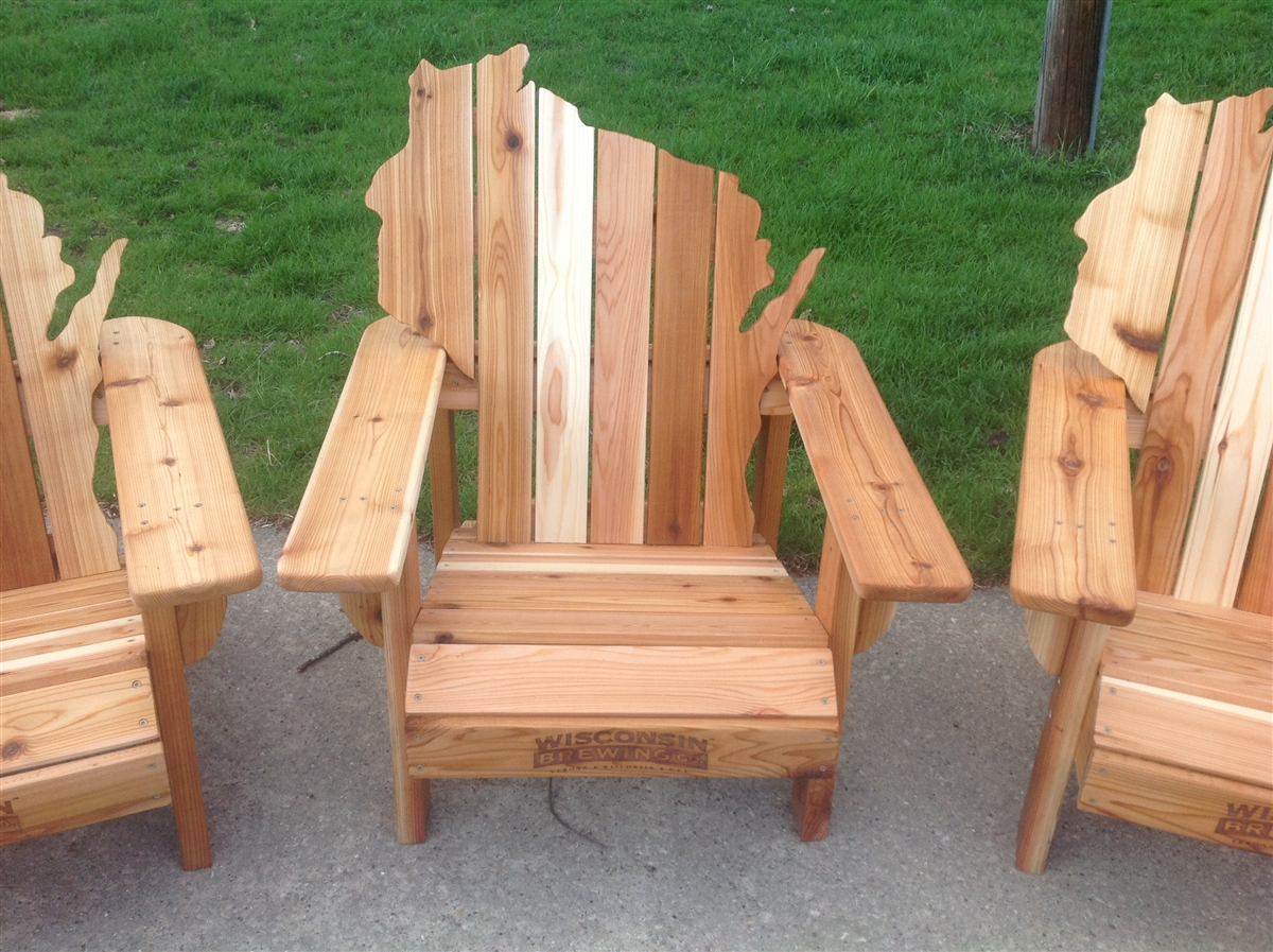 Custom made personalized cedar adirondack wisconsin chairs - Design on wooden ...