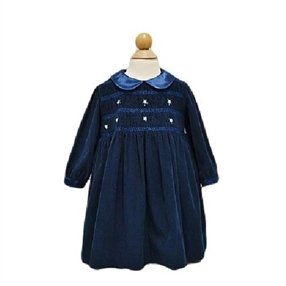 Smocked Navy Cord Dress
