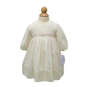 Smocked Voile Dress - IVORY