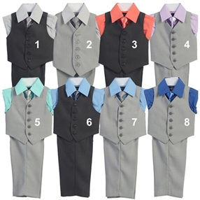 David 4pc Boys Vest Suit Set - Lt Gray