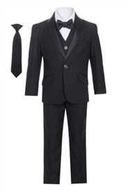 George  Boys 5pc Tux: Black (Slim fit)