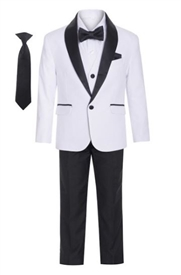 George  Boys 5pc Tux: WHITE (Slim fit)