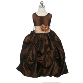 Baby Katie - Brown Gathered Dress