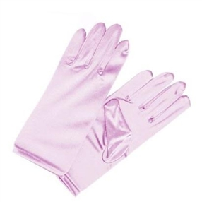 Girls Satin Formal Gloves Pink