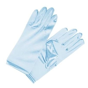 Girls Satin Formal Gloves Pale Blue