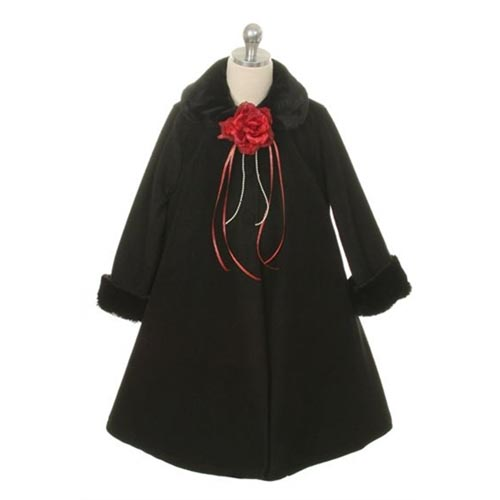 Evelyn - Girls Black Fleece Coat