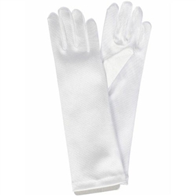 Satin Gloves - Long/White (0-16 years)