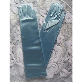 Satin Gloves - Long/Pale Blue (0-16 years)