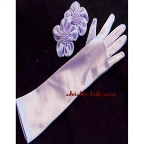 Satin Gloves - Long/Lilac (0-16 years)