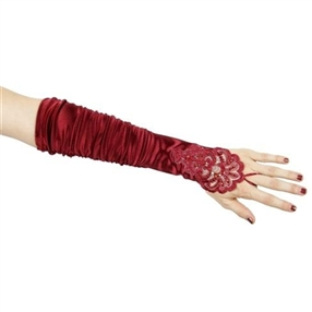 Adult Gloves - Burgundy/Beaded