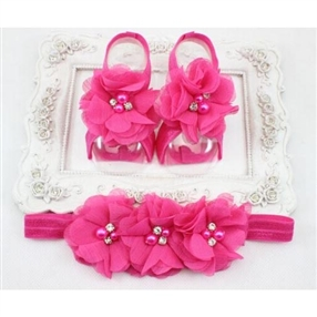 Headband & Infant Barefoot Sandals Set - FUCHSIA