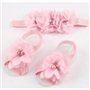 Headband & Infant Barefoot Sandals Set - PINK