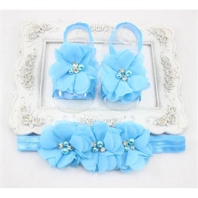Headband & Infant Barefoot Sandals Set - AQUA