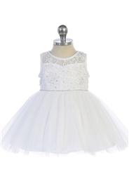 Charlotte  Baby Girls Dress: WHITE