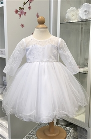 Baby Baptism White Dress with sleeves