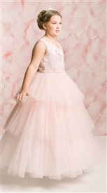 Leah Floor Length Gown: BLUSH