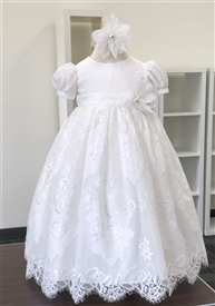Lace Baptism Gown: OFF WHITE