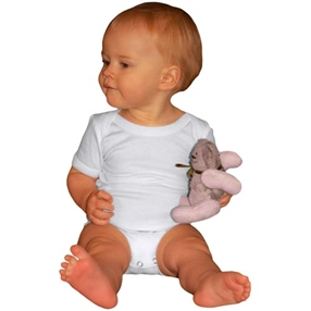 Cotton Plain White Onesie - Short sleeves