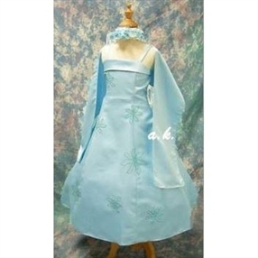 Sarah Blue Flower Girl Dress