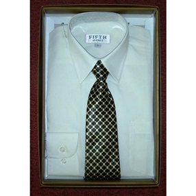 Boys Ivory Dress Shirt & Tie Set