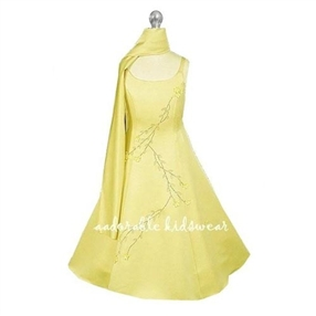 Pearl Yellow Gold Flower Girl Dress