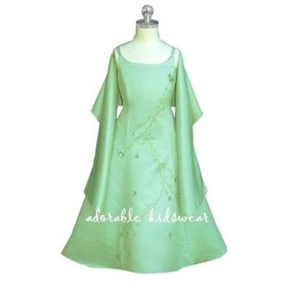 Green Flower Girls Dress