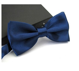 Boys Silky Satin Bowtie - NAVY