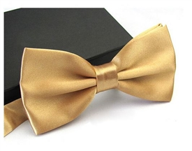 Boys Silky Satin Bowtie - GOLD