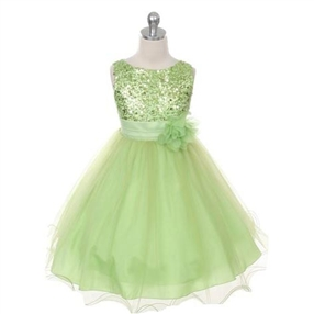 Marva - Girls Sequined Lime Dress