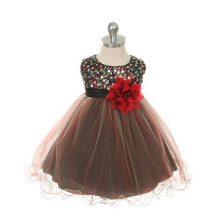 Holiday Girls Sequined Dress Black Red Ships To