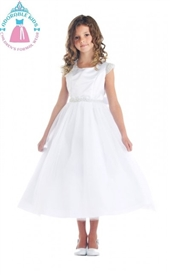 Rosalie Tulle Girls Dress: WHITE