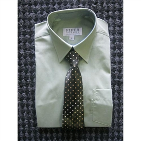 Long Sleeve Sage Green - Shirt & Tie