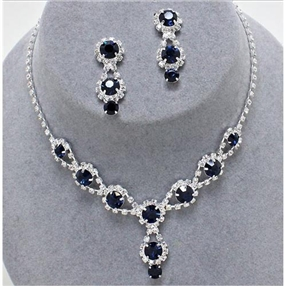 Necklace & Earring Set - Navy