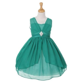 Beatrice Chiffon Dress - Emerald Green
