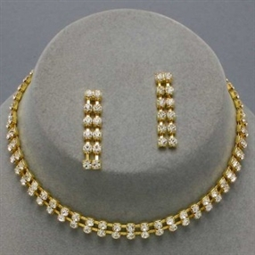 Rhinestone/Gold Necklace Choker & Earrings Set S7492