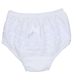 Girl's Diaper Cover - WHITE