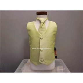 Poly Silk Boys  Vest & tie Set - Yellow