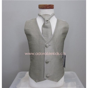Poly Silk Vest & Necktie Set - Grey