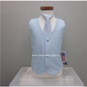 Poly Silk Vest & Necktie Set - Pale Blue