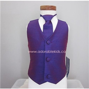 Poly Silk Vest & Necktie Set - Purple