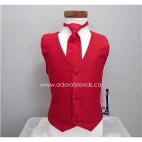 Poly Silk Vest & Necktie Set - Red