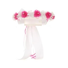 Halo - Floral Crown - WHITE/FUCHSIA
