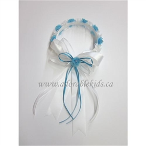 Halo - Floral Crown - White/AQUA